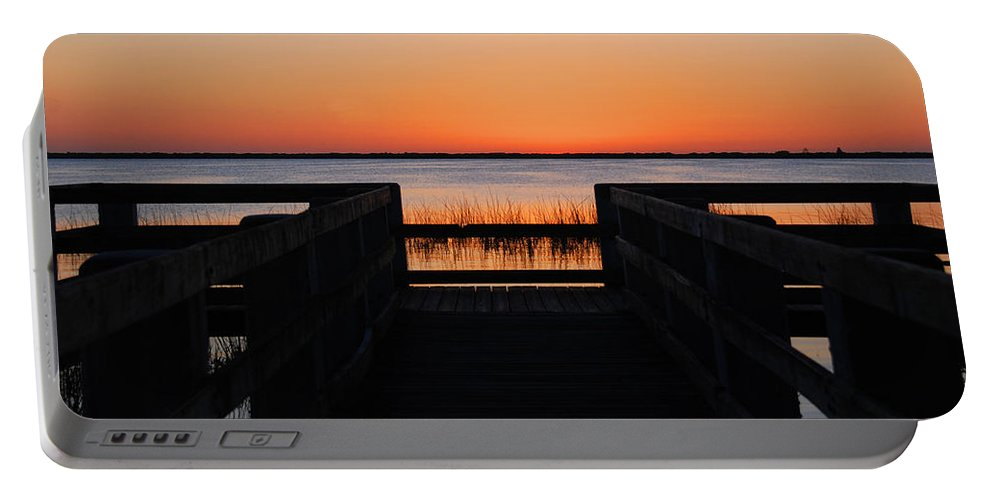 Sunset Portable Battery Charger featuring the photograph Last Glow Over The Water by Susanne Van Hulst