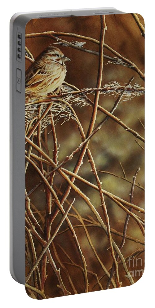 Sparrow Portable Battery Charger featuring the painting Last Light by Greg and Linda Halom