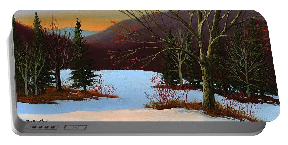 Winter Portable Battery Charger featuring the painting Last Light Of Day by Frank Wilson