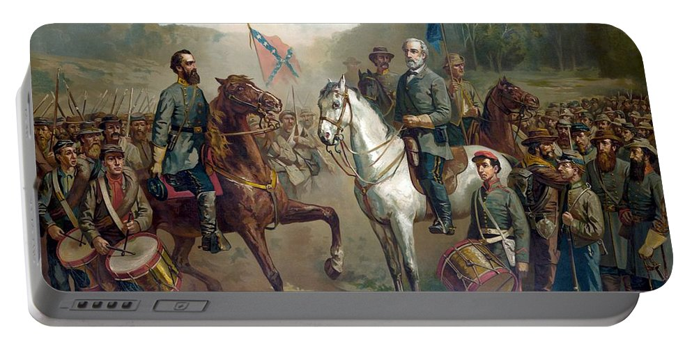 Robert E Lee Portable Battery Charger featuring the painting Last Meeting Of Lee And Jackson by War Is Hell Store