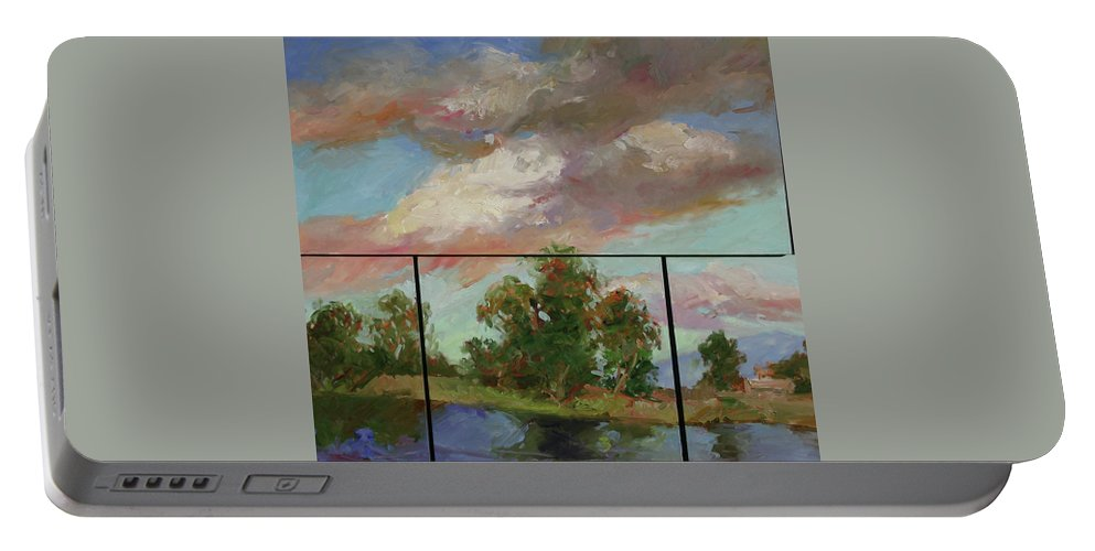 Murals Portable Battery Charger featuring the painting Last Of Sand Creek - Plein Air by Betty Jean Billups