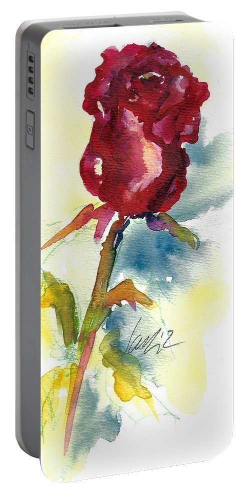 Rose Painting Portable Battery Charger featuring the painting Last Rose Of Summer by Jacki Kellum