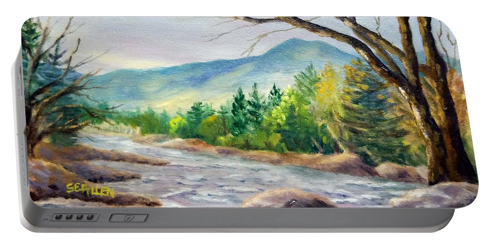 Saco River Portable Battery Charger featuring the painting Late Afternoon on the Saco by Sharon E Allen