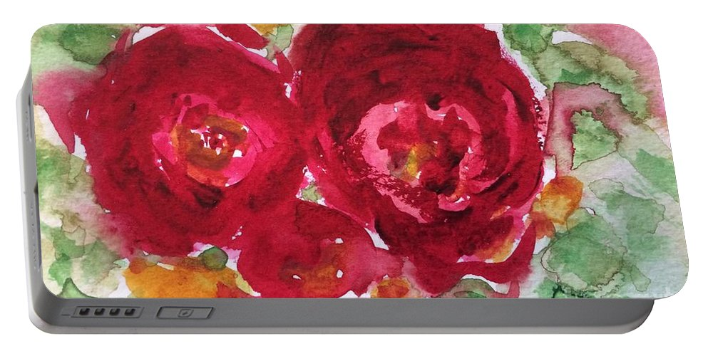 Roses Portable Battery Charger featuring the painting Late Autumn Rose by Aase Birkhaug