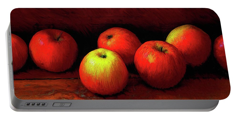 Apples Portable Battery Charger featuring the painting Late Harvest by Dominic Piperata