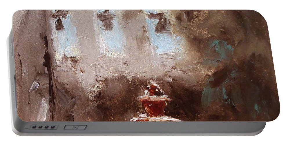 Water Portable Battery Charger featuring the painting Late Light by Barbara Andolsek