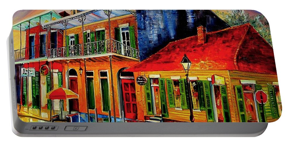 New Orleans Portable Battery Charger featuring the painting Late On Bourbon Street by Diane Millsap