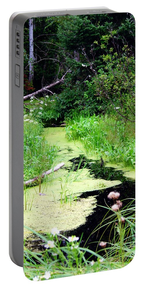 Pine Falls Manitoba Creek Water Portable Battery Charger featuring the photograph Late Summer At The Creek by Joanne Smoley