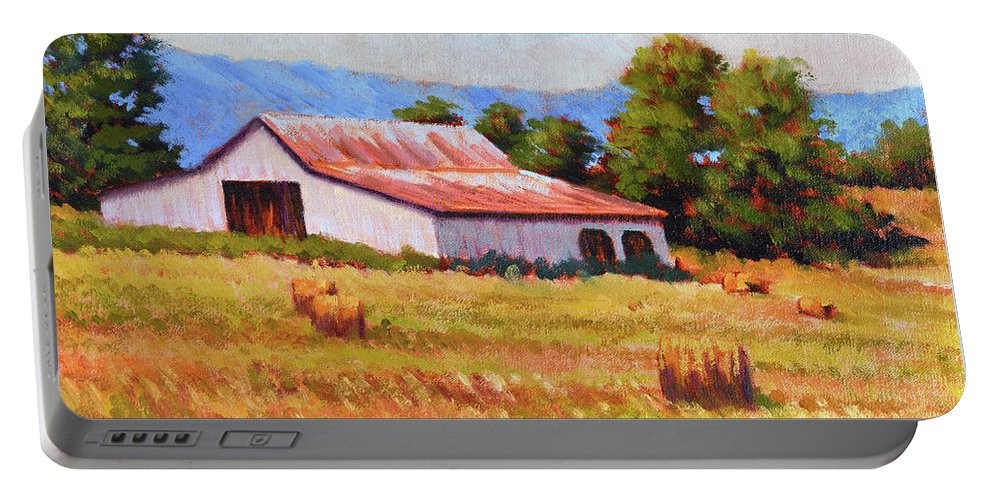 Impressionism Portable Battery Charger featuring the painting Late Summer Hay by Keith Burgess
