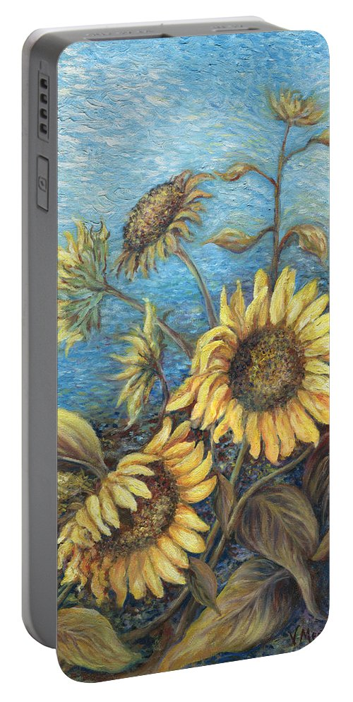 Sunflowers Portable Battery Charger featuring the painting Late Sunflowers by Valerie Meotti