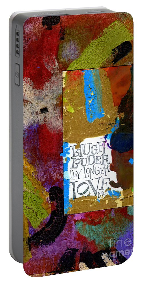 Wood Portable Battery Charger featuring the mixed media Laugh Play Love by Angela L Walker