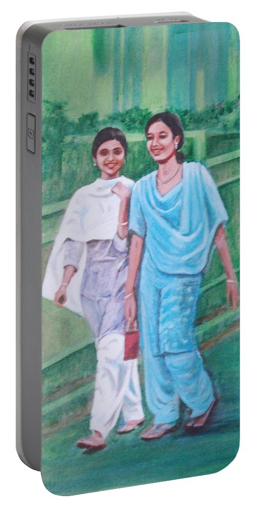 Portable Battery Charger featuring the painting Laughing Girls by Usha Shantharam