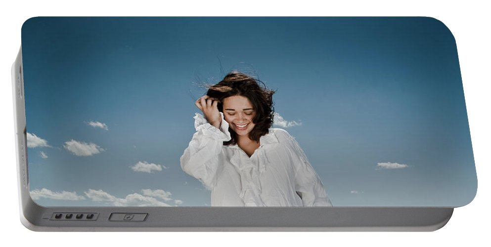 Woman Portable Battery Charger featuring the photograph Laughing Sky by Scott Sawyer