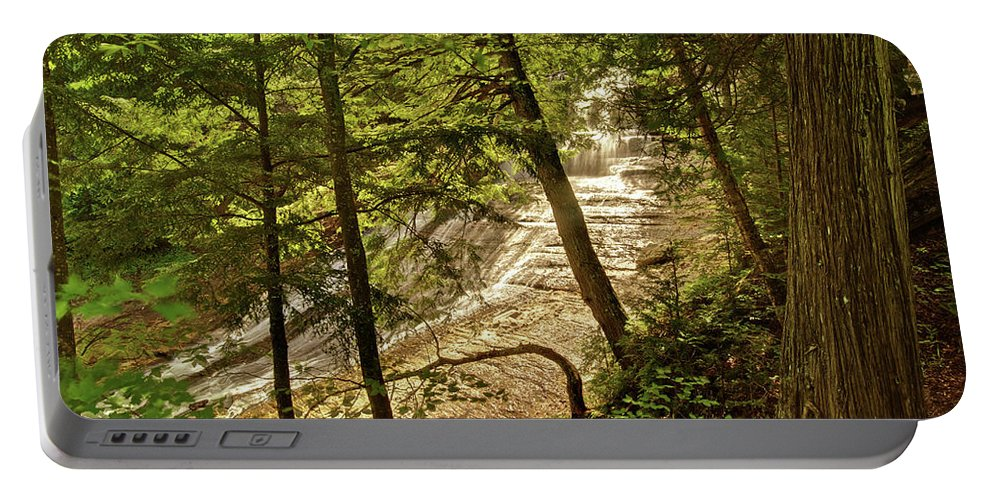 Laughing Whitefish Portable Battery Charger featuring the photograph Laughing Whitefish Falls 2 by Michael Peychich