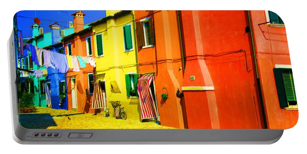Burano Portable Battery Charger featuring the photograph Laundry Between Chimneys by Donna Corless