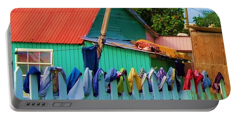 Clothes Portable Battery Charger featuring the photograph Laundry Day by Debbi Granruth