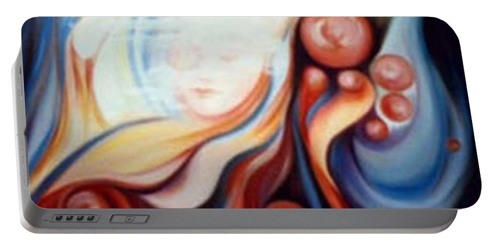 Surreal Portable Battery Charger featuring the painting Laura by Jordana Sands