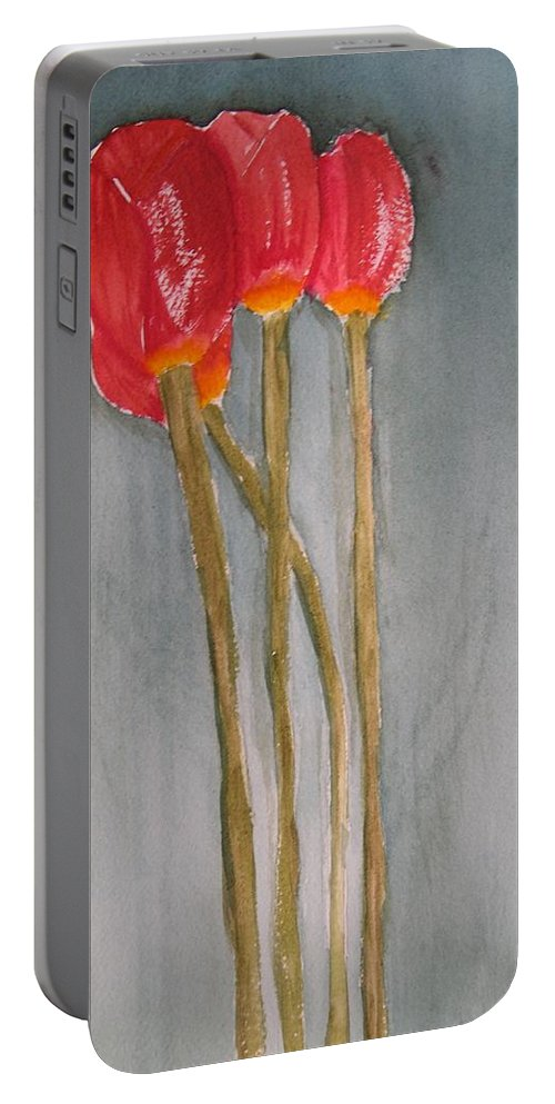 Tulip Flower Bouquet Portable Battery Charger featuring the painting Laura by Patricia Caldwell