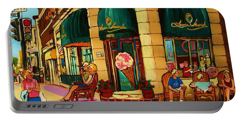 Montreal Streetscenes Portable Battery Charger featuring the painting Laura Secord Candy And Cone Shop by Carole Spandau