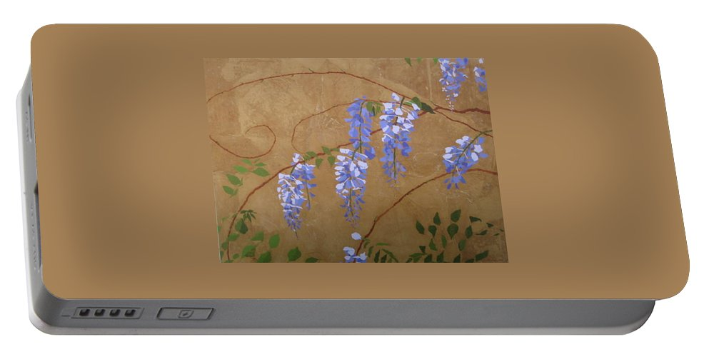 Floral Portable Battery Charger featuring the painting Laurels Wisteria by Leah Tomaino