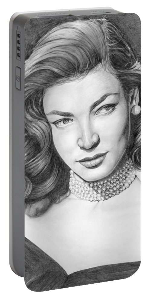 Actress Portable Battery Charger featuring the drawing Lauren Bacall by Rob De Vries
