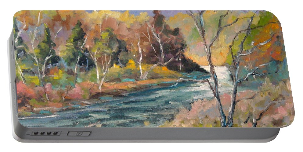 Landscape Portable Battery Charger featuring the painting Laurentian Hills by Richard T Pranke