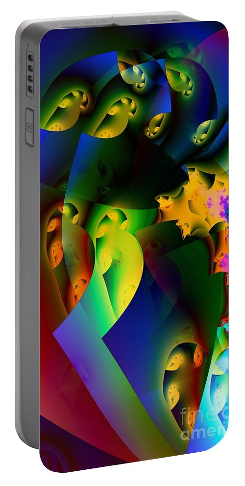 Lava Lamp Portable Battery Charger featuring the digital art Lava Lamp by Ron Bissett