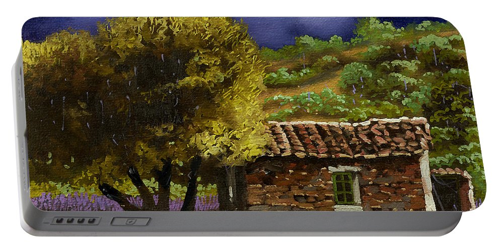 Lavender Portable Battery Charger featuring the painting Lavanda Sotto Il Cielo Blu by Guido Borelli