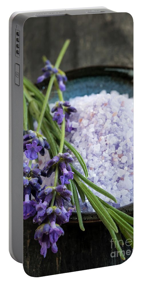 Bath Salts Portable Battery Charger featuring the photograph Lavender Bath Salts by Elena Elisseeva