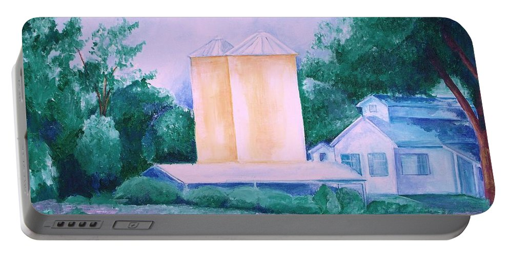 Western Portable Battery Charger featuring the painting Lavender Farm Albuquerque by Eric Schiabor