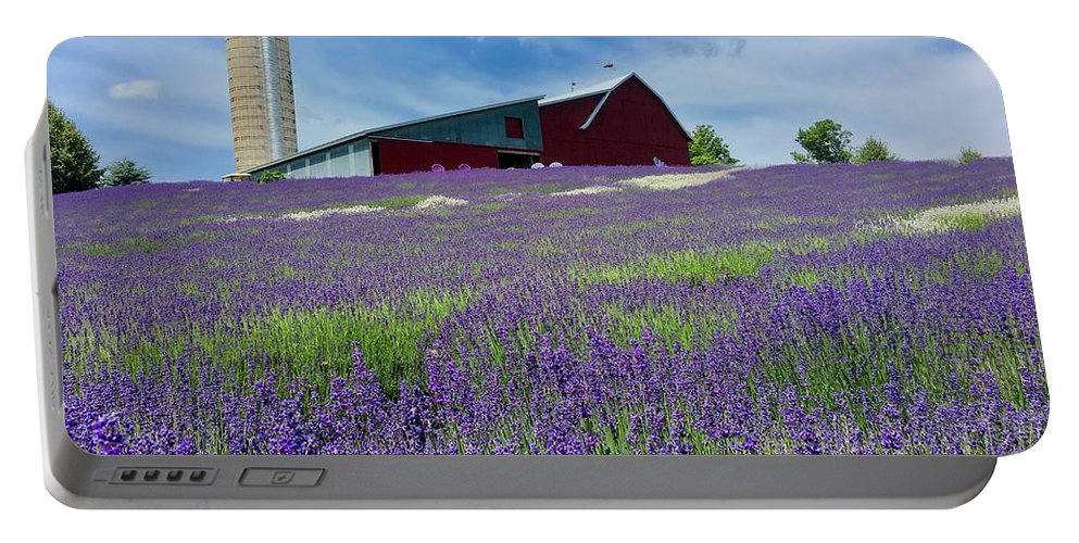 Lavender Portable Battery Charger featuring the photograph Lavender Fields by Megan Noble