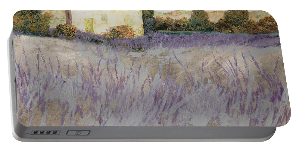 Lavender Portable Battery Charger featuring the painting Lavender by Guido Borelli