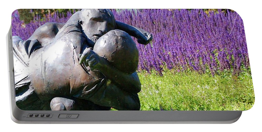 Statue Portable Battery Charger featuring the photograph Lavender Lovers by Debbi Granruth