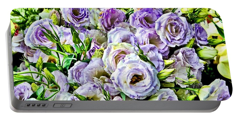 Ranunculus Portable Battery Charger featuring the digital art Lavender Ranunculus by Mary Pille