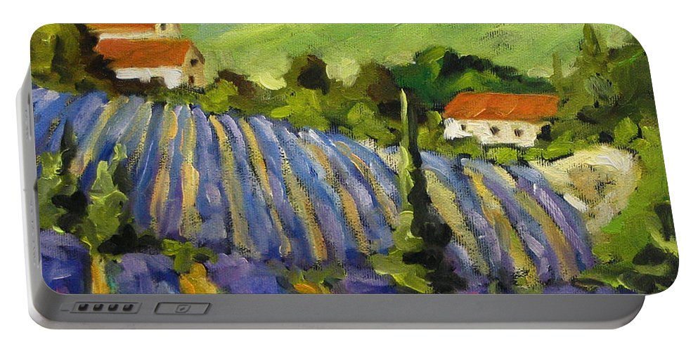 Art Portable Battery Charger featuring the painting Lavender Scene by Richard T Pranke