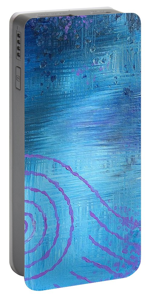 Lavender Portable Battery Charger featuring the painting Lavender Spiral by Noah Babcock