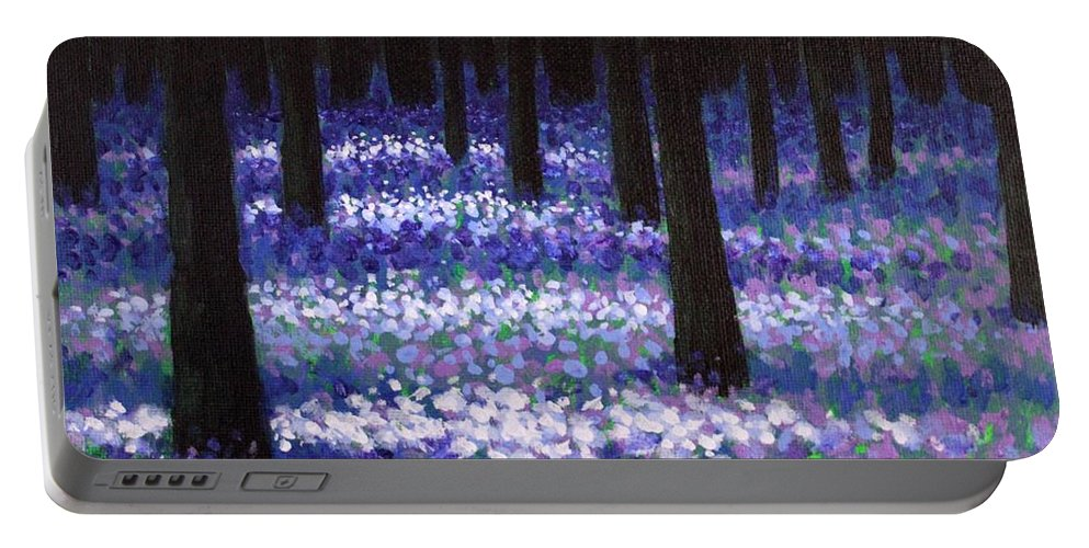 Landscape Portable Battery Charger featuring the painting Lavender Woodland by John Nolan