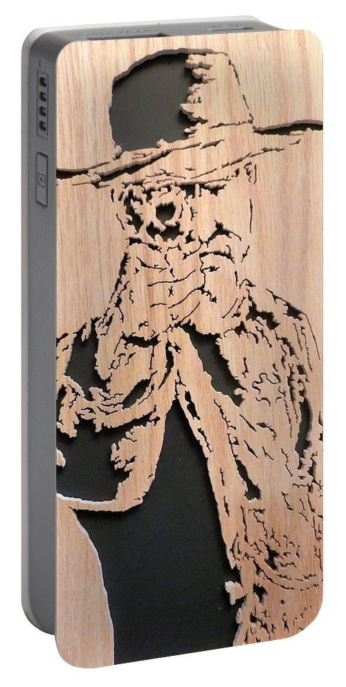 Lawman Portable Battery Charger featuring the mixed media Lawman by Kris Martinson