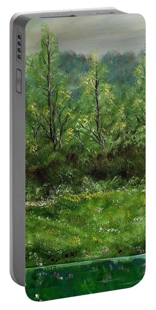 Landscape Portable Battery Charger featuring the painting Lay You Down In Soft Dreams by Lisa Aerts