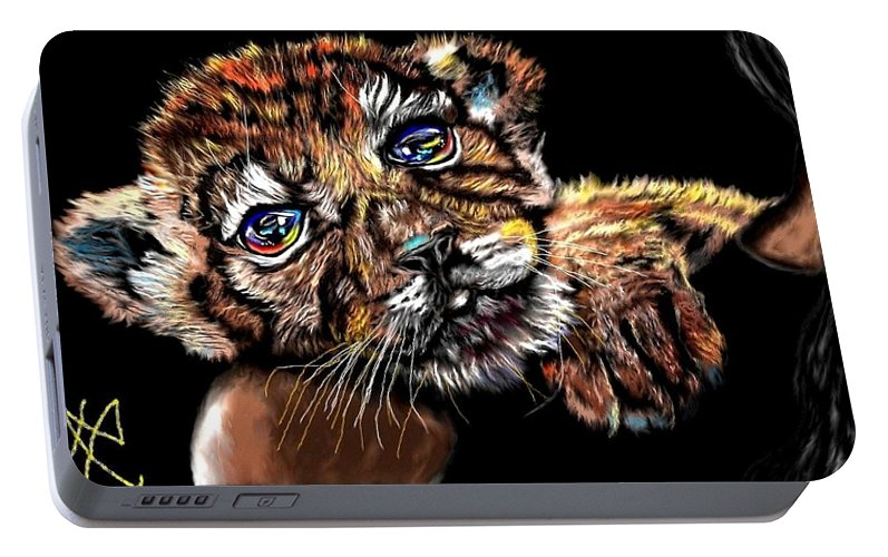 Cub Portable Battery Charger featuring the painting Lay Your Troubles On My Shoulder Put Your Worries In My Pocket by Herbert Renard