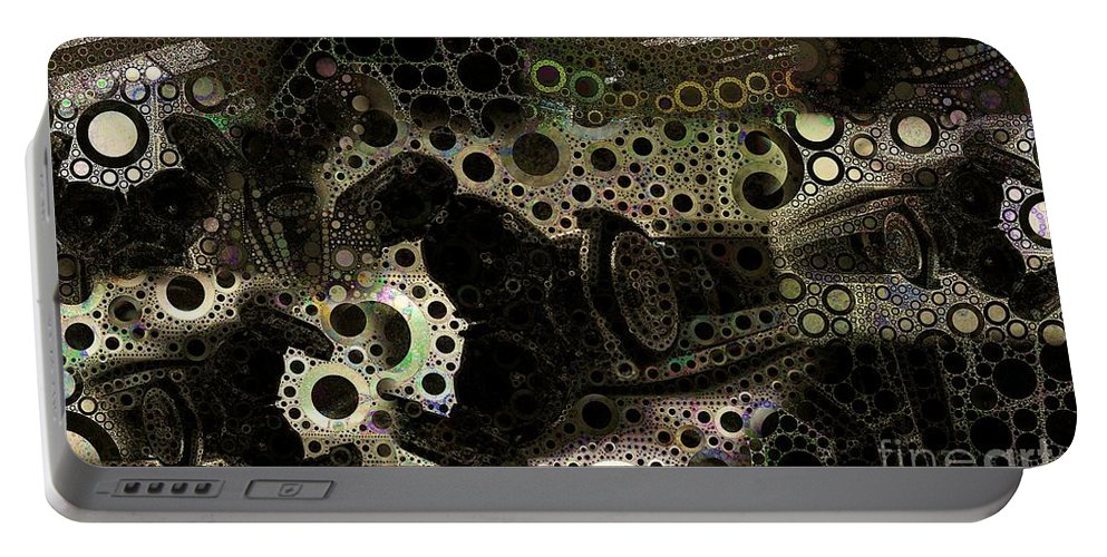 Abstract Portable Battery Charger featuring the digital art Layered Collage 1 by Ron Bissett