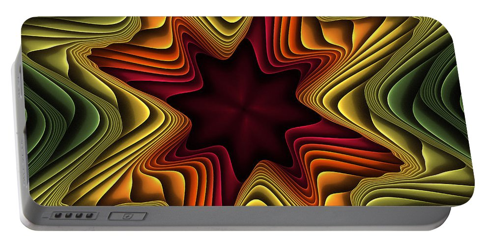 Fractal Portable Battery Charger featuring the digital art Layers Of Color by Deborah Benoit