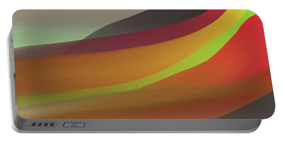 Gray Portable Battery Charger featuring the digital art Layers Of Red, Brown, Green by Michael L McKinley