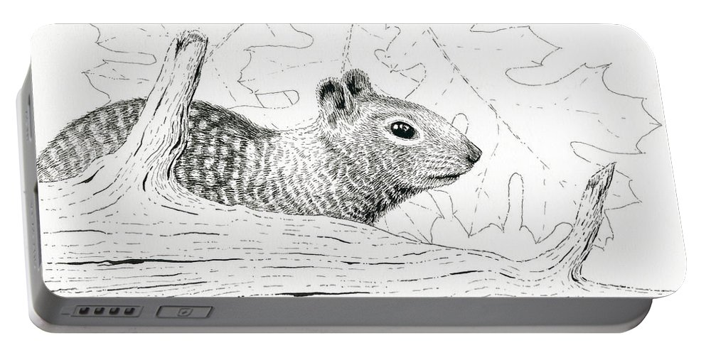 Squirrel Portable Battery Charger featuring the drawing Laying Low by Timothy Livingston