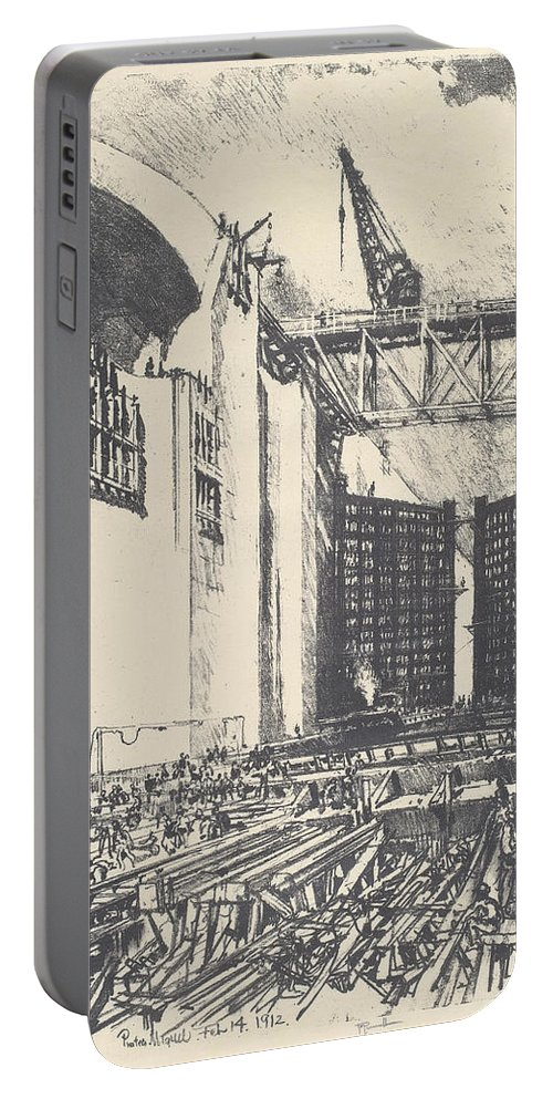 Joseph Pennell Portable Battery Charger featuring the drawing Laying The Floor Of Pedro Muguel Lock by Joseph Pennell