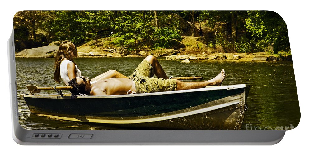 Lovers Portable Battery Charger featuring the photograph Lazy Afternoon In The Park by Madeline Ellis