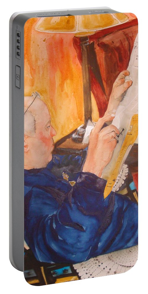 Portrait Portable Battery Charger featuring the painting Lazy Sunday Morning by Jean Blackmer