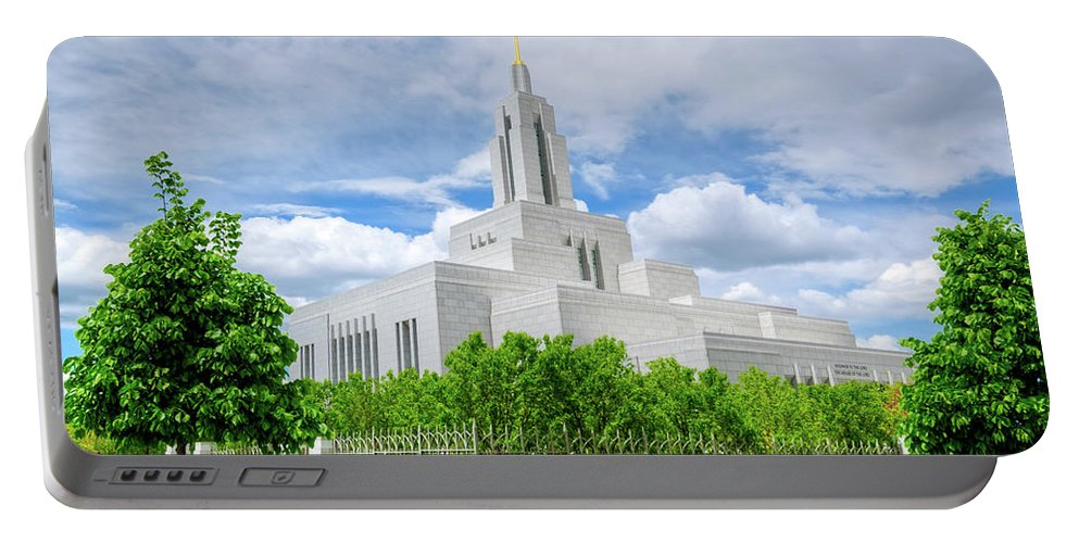 Building Portable Battery Charger featuring the photograph Lds Draper Temple by Brett Engle
