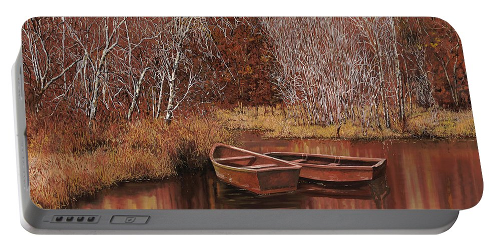 Boats Portable Battery Charger featuring the painting Le Barche Sullo Stagno by Guido Borelli
