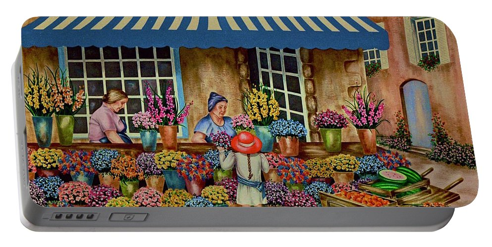 Flower Market Portable Battery Charger featuring the painting The Red Hat by Jan Law